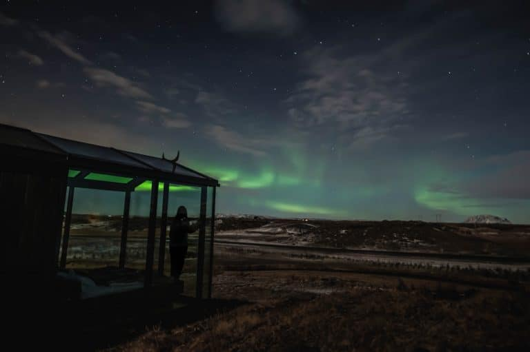 Panorama Glass Lodge with the Northern Lights