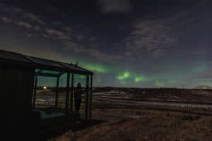 Panorama Glass Lodge with Northern Lights in distance