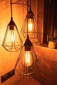 Panorama Glass Lodge bathroom lights