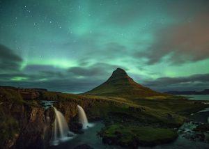 Kirkjufell under the Northern Lights