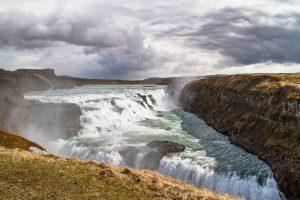 Gullfoss waterfall in an overcast day