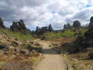 Dimmuborgir lava fortress paths and surrounding lava structures