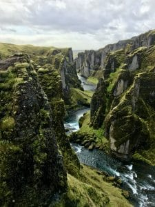 Fjaðrárgljúfur canyon in Iceland during the summer months during sunset