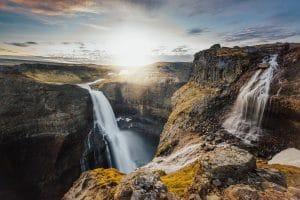 Haifoss waterfall in Þjórsárdalur Valley