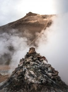 A steam vent at Hverir near Lake Myvatn in summer