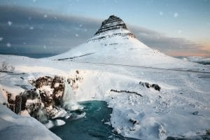 Kirkjufell in the snow during an Iceland winter