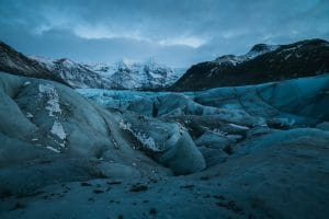 Svínafellsjökull during blue hour at the base of the glacier tongue