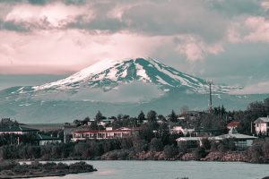 Hekla volcano in Iceland from the town of Hella in South Iceland