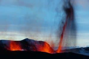 Eyafjallajökull eruption in a clear day in 2010