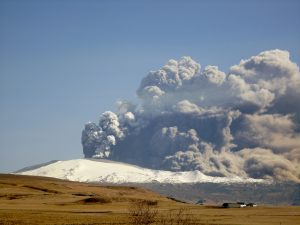 Eyjafjallajökull Eruption with a tall ash cloud on a clear sky