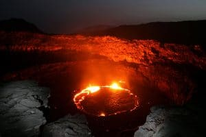 a ring of lava in a volcanic caldera