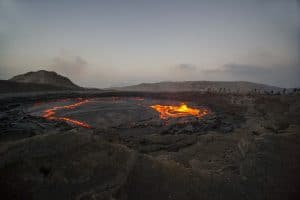 lava cooling under a clear sky in Iceland