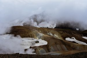 a steaming path in a mountainside in Iceland