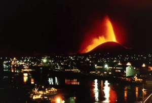 1973 Eldfell eruption in Iceland's Westman Islands at night