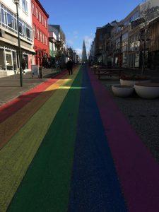 Pride festival in Reykjavik along the rainbow street leading up to Hallgrimskirkja