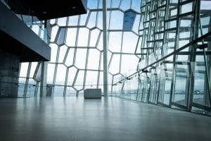 The inside pf the Harpa Concert Hall on a bright day