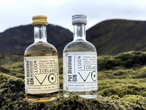 Eimverk Distillery advertisment in the Icelandic nature with two bottle