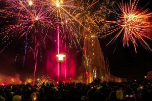 New years eve fireworks in Reykjavik by Hallgrimskirkja church