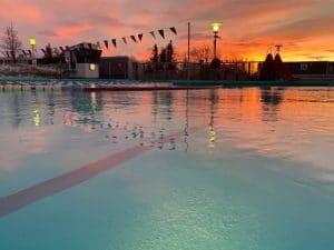 Vesturbæjarlaug swimming pool during sunset