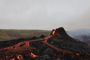 Geldingadalir volcano in Iceland erupting in April 2021