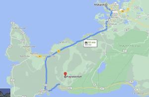 Googlr Map journey from Reykjavik to Geldingadalir volcano on the Reykjanes peninsula of Iceland