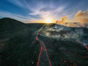 Geldingadalir volcano in Iceland captured at sunrise