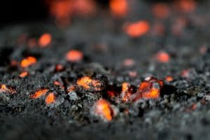 A close up of lava droplets from the Geldingadalir volcanic eruption
