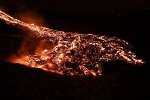 Lava flow at night from Geldingadalur volcano in Iceland