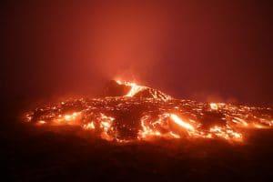 Geldingadalir volcano lava flow at night