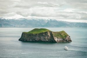 the island of Heimaey in the Westman Islands archipelago from a drone