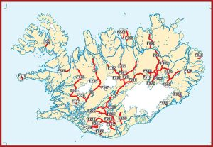 A map of the F Roads in the Icelandic Highlands