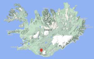 Thórsmörk on a Google Map of Iceland